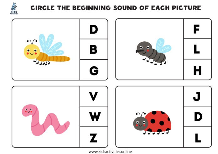 beginning sound worksheets kindergarten