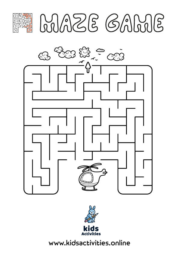 Printable puzzle maze for kids