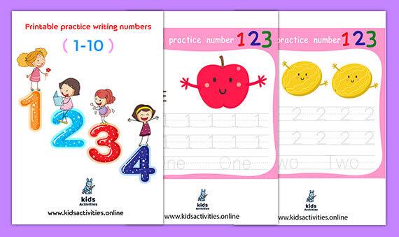 Free!- Printable practice writing numbers 1-10 for kindergarten pdf