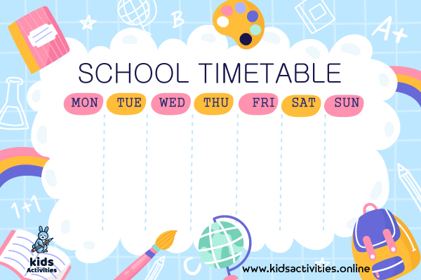 Daily schedule template free printable for school