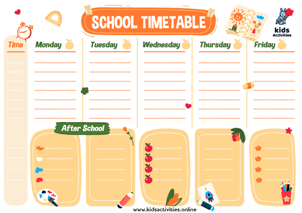 schedule for school template 2022 ... Free printable timetable