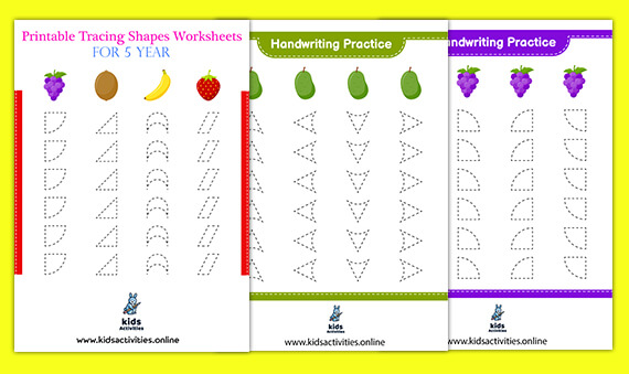 Free Printable tracing shapes worksheets for 5 year olds