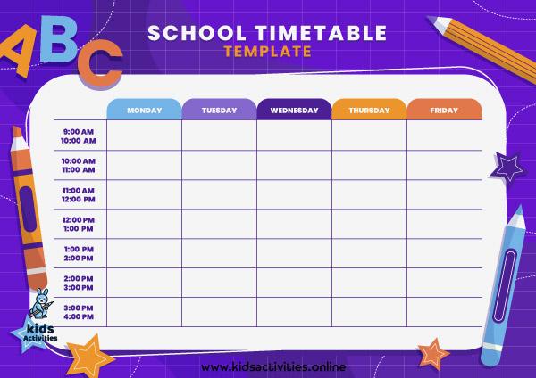 Free Weekly School Schedule Template