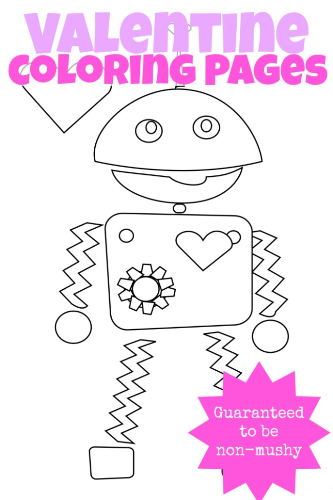 3 Non Mushy Valentines Day Coloring Pages