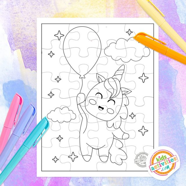 Make Your Own Puzzle - Free Unicorn Puzzle Coloring Pages