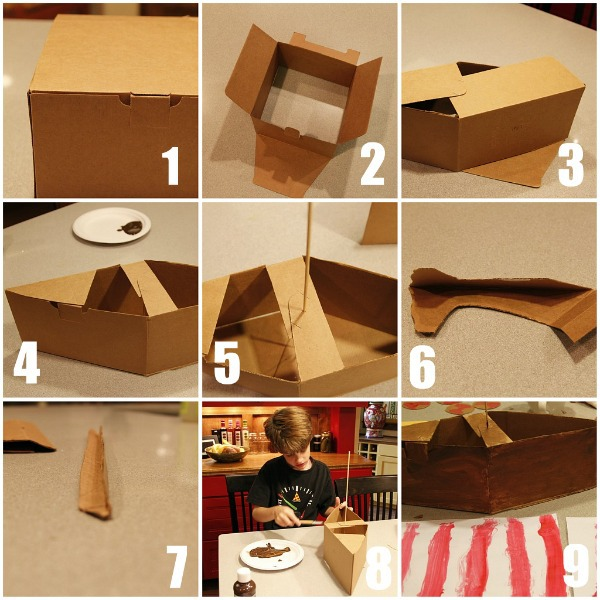 we started with a self folding cardboard box it is the type of box