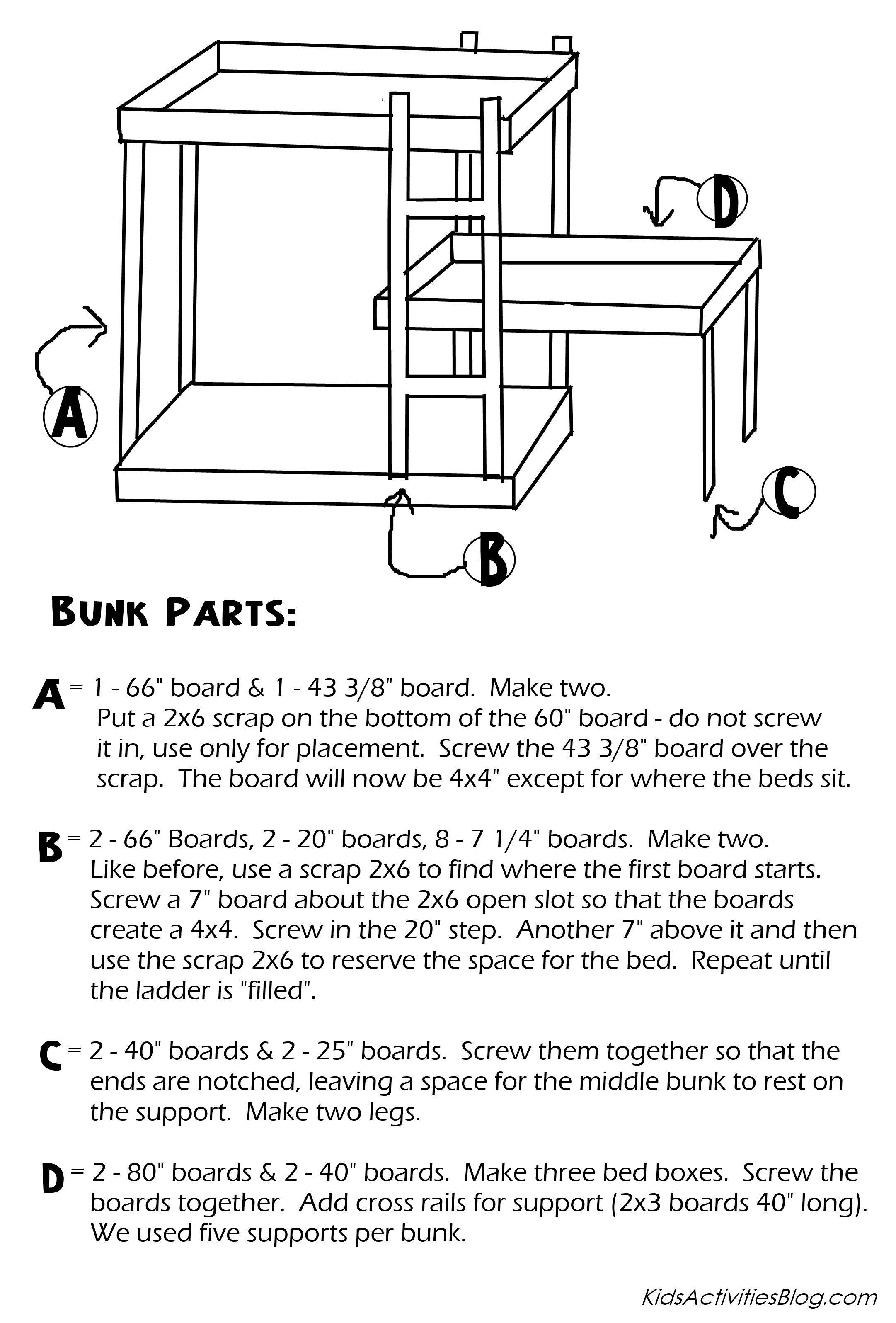 triple bunk bed plans build