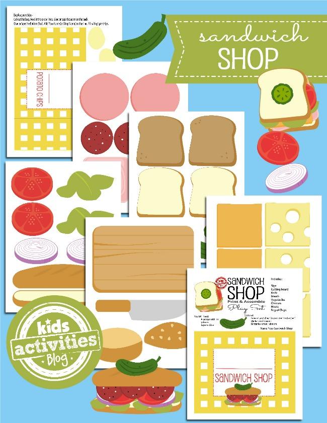 Imprimible tienda de sandwhich gratis