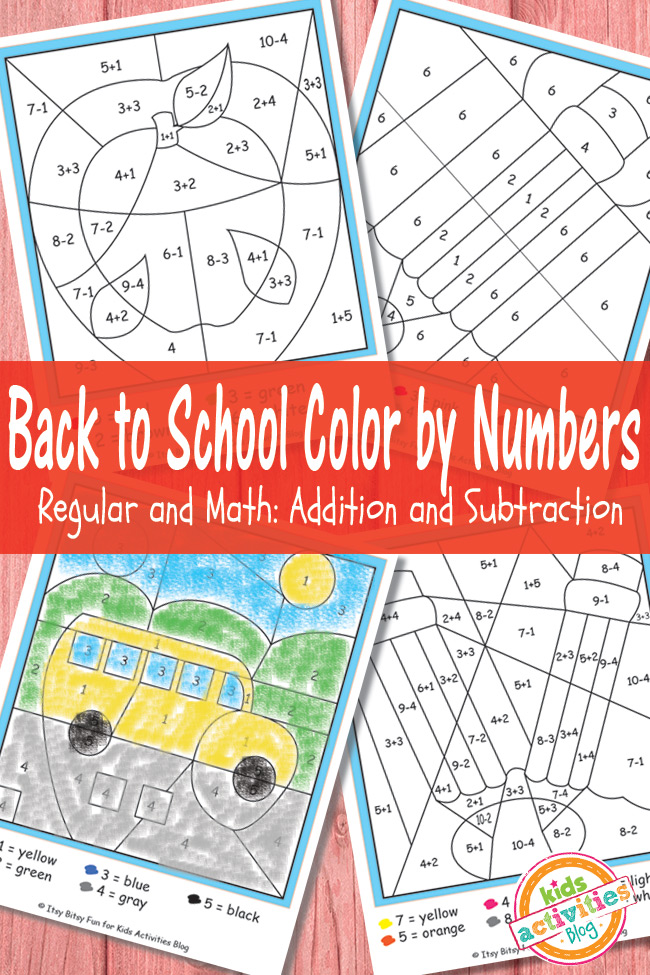 Back to School Color By Numbers Free Kid Printables | Kids Activities Blog