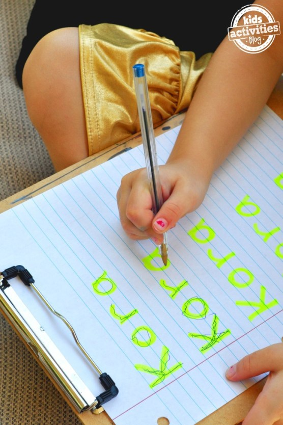 First write your childs name with highlighter then trace it