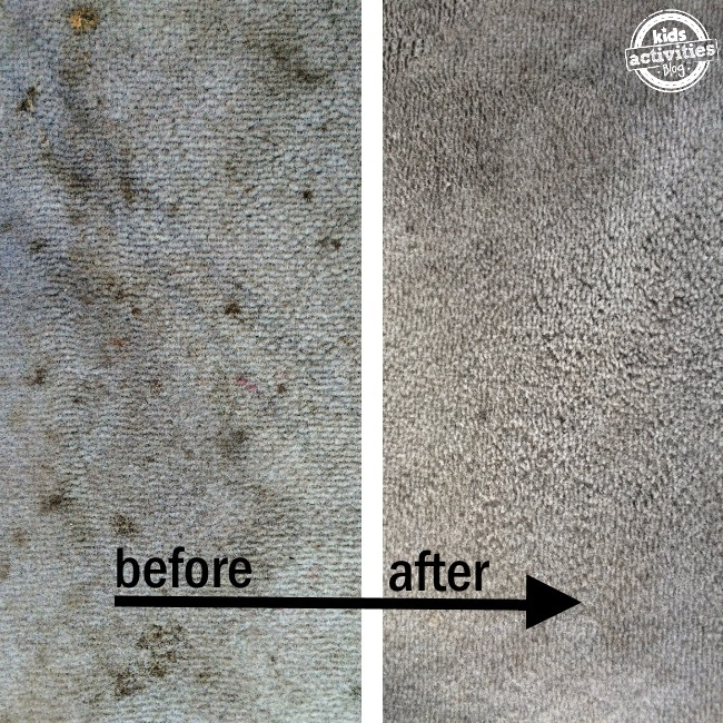 this cleaning recipe really works these are before and after of carpet stains