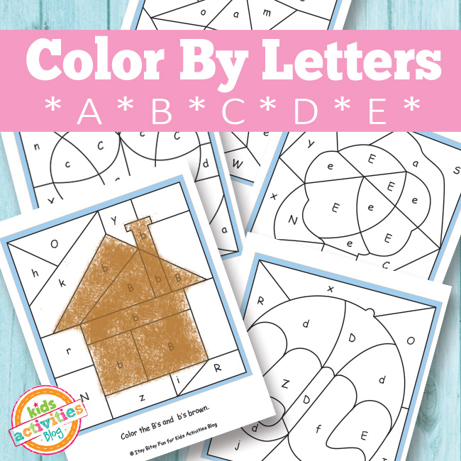 color by letters a b c d e free kids printable
