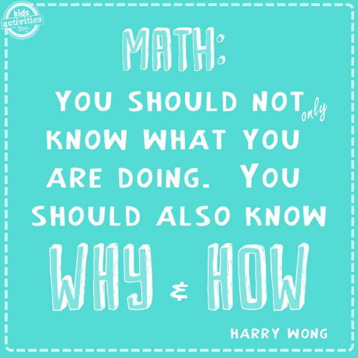 Math quotes for kids - you should not only know what you are doing you should also know why and how - Harry Wong