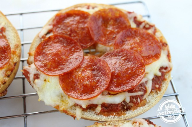 Pizza Bagels with pepperoni and cheese and sauce!