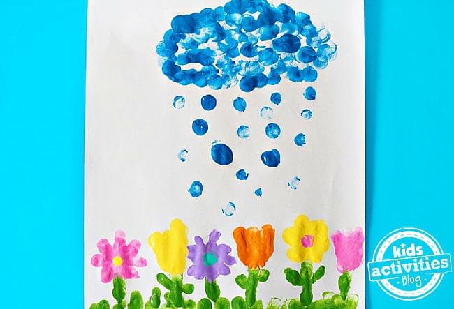 April Showers Bring May Flowers Fingerprint Craft