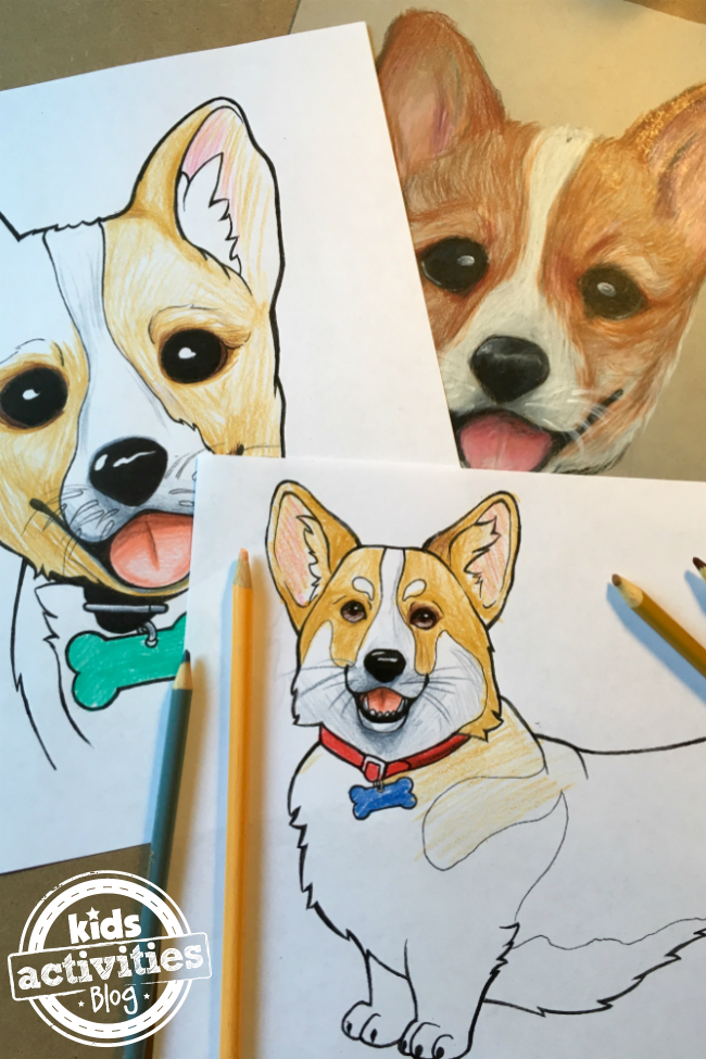 Corgi coloring pages kids, puppy love coloring pages