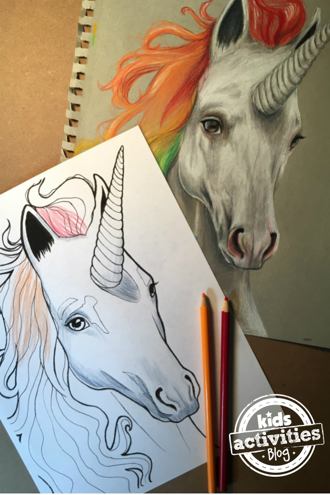 realistic unicorn drawing and corresponding realistic unicorn coloring page - by Natalie shown here with colored pencils