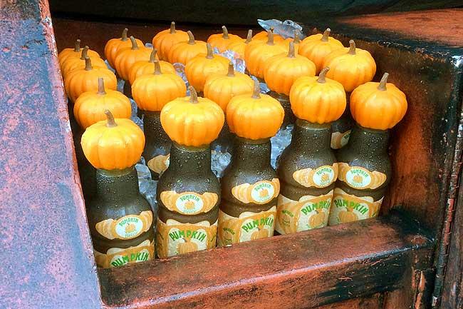 Bottles of Pumpkin Juice from Universal Studios sits in strange bottles that have pumpkins instead of normal lids.
