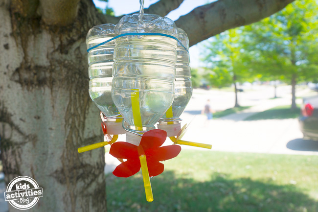Recycled Bottle Hummingbird Feeder