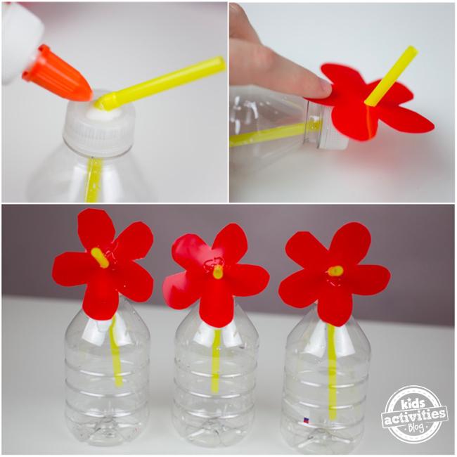 homemade water bottle hummingbird feeder steps 1-3