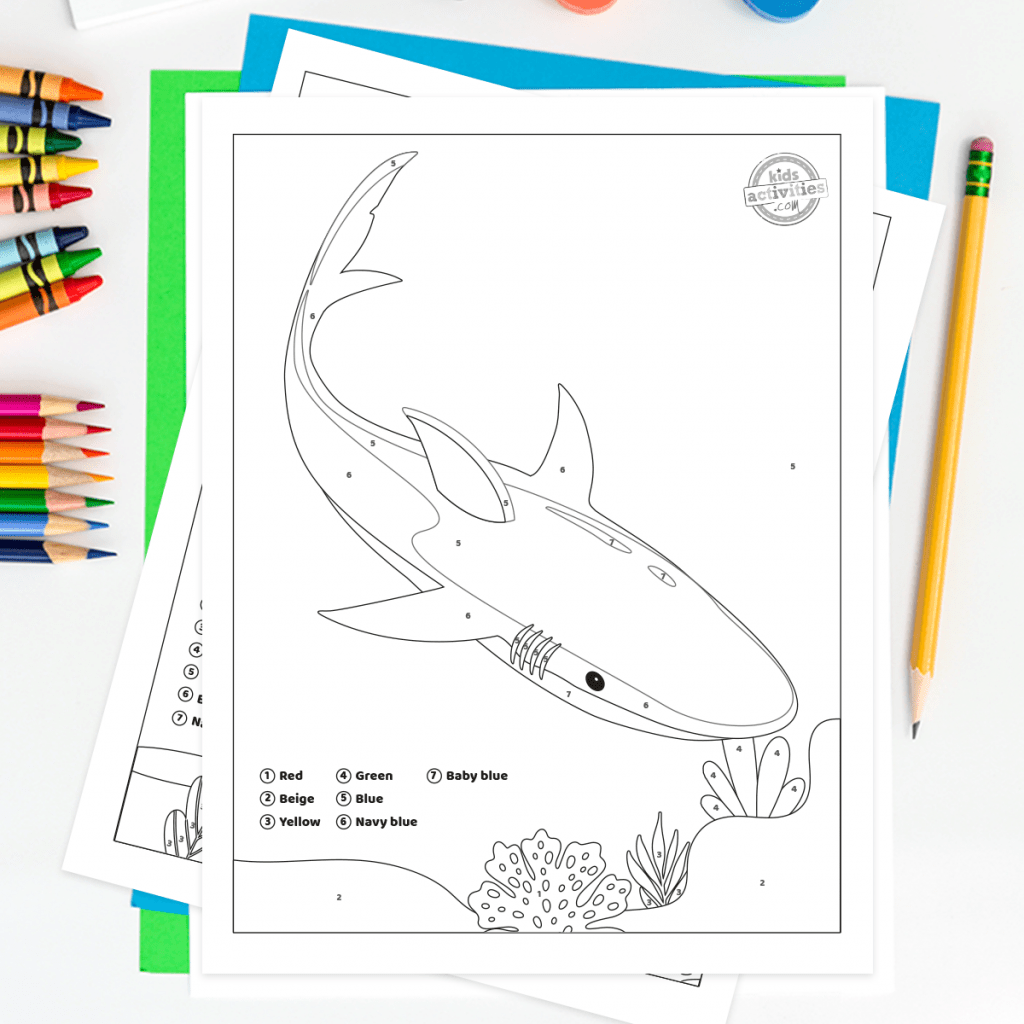 Free Shark Week Color By Number For Kids Printable