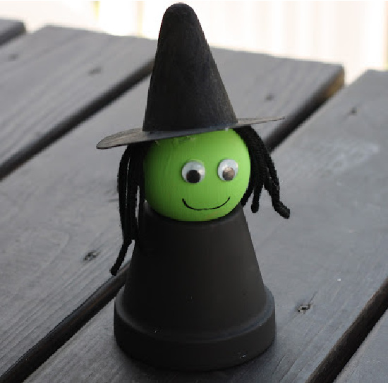 Make a flower pot witch craft for kids from The Chirping Moms