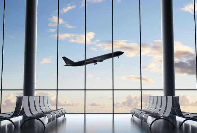TSA Precheck Airport windows plane in sky