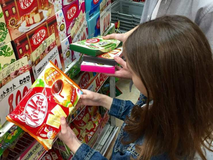 Things not to miss in Tokyo with Kids Checking out KitKats-Kids Are A Trip