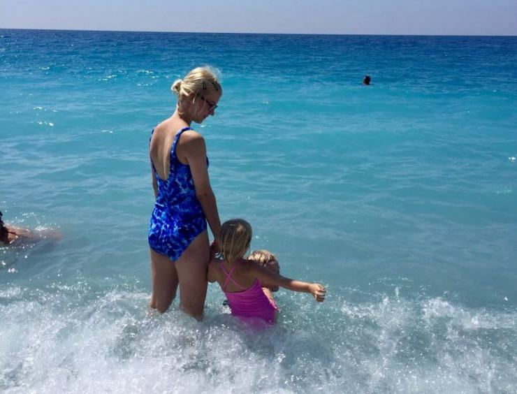 Ponchettes Beach with kids along the Mediterranean Sea