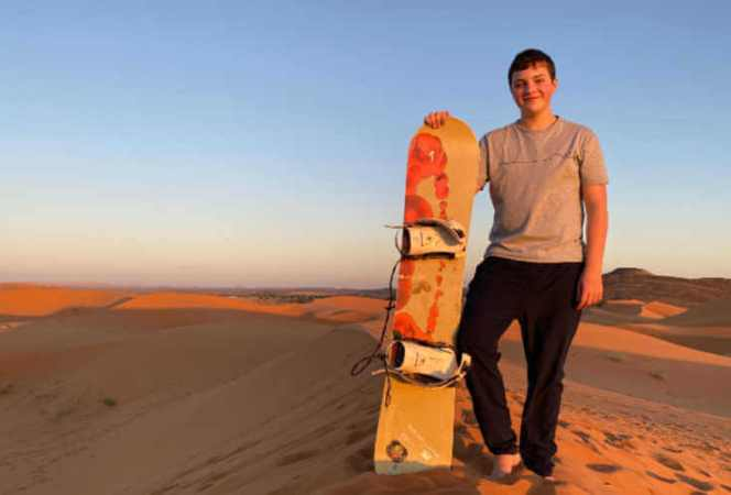 Sahara Sand Boarding Nat Geo Morocco tour-Kids Are A Trip