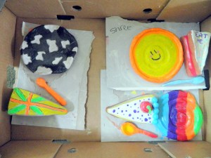 Clay cakes and plates Pop Art style