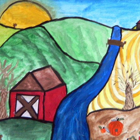 Landscape Grant Wood style