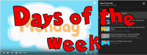 Days of the week songs page
