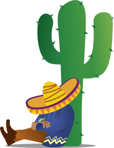 Mexican sleeping next to a cactus