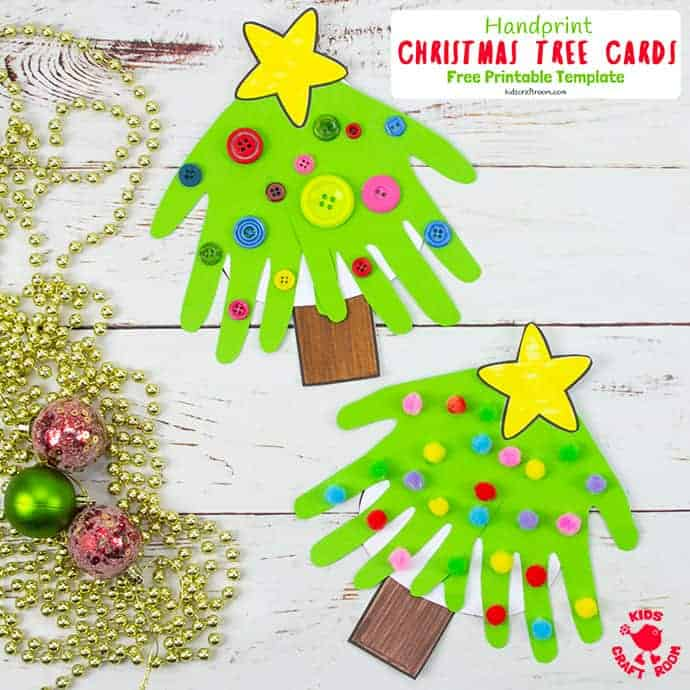 Handprint Christmas Tree Cards Kids Craft Room