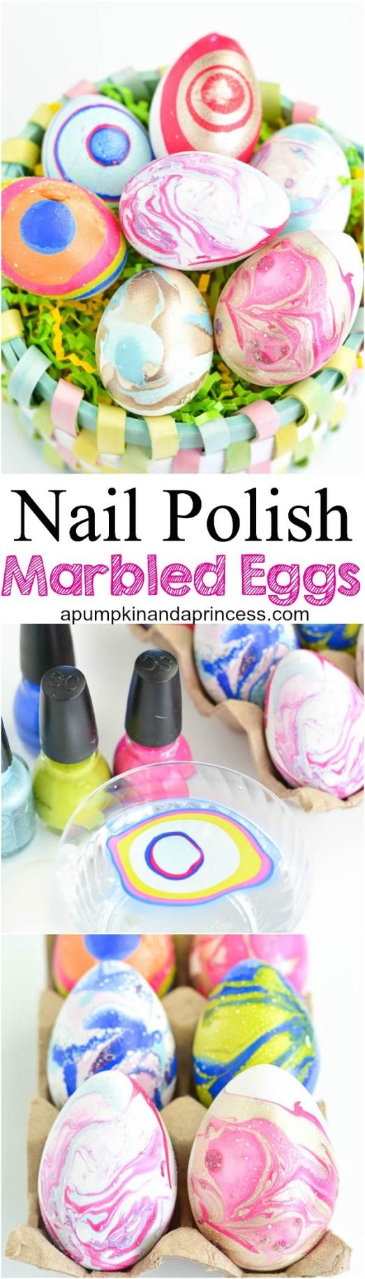 Nail polish marbled easter eggs for Nail polish crafts