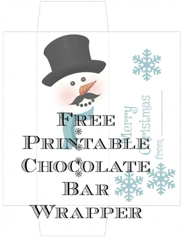 Free Printable Snowman Candy Bar Wrapper Template Architecture