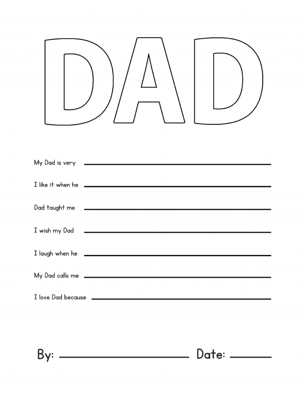 graphic about All About My Dad Printable named Fathers Working day Printable My Father Questionnaire