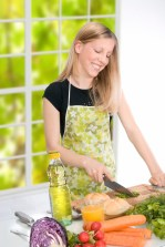 Girl preparing food in the kitchen.
