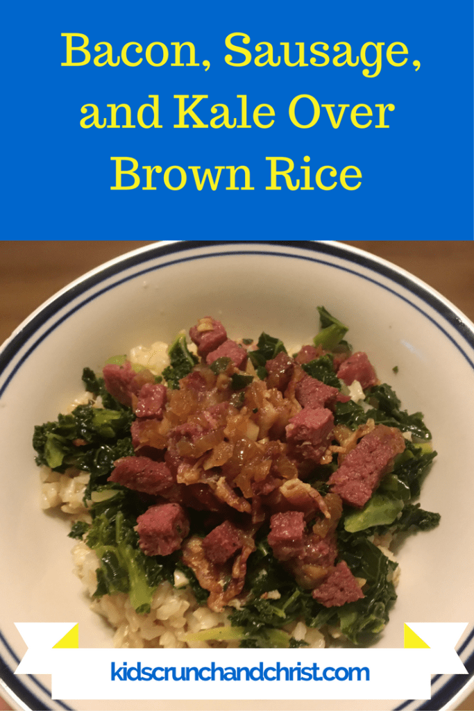 Bacon, Sausage, and Kale Recipe, one pot, natural, gluten free, dairy free