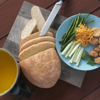 easy pumpkin soup with freshly baked bread