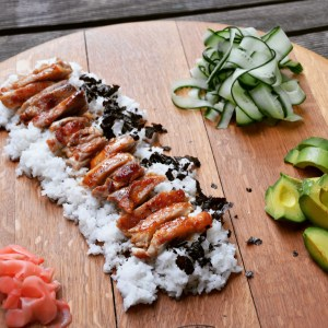 teriyaki chicken, japanese, rice, avocado, cucumber, ginger