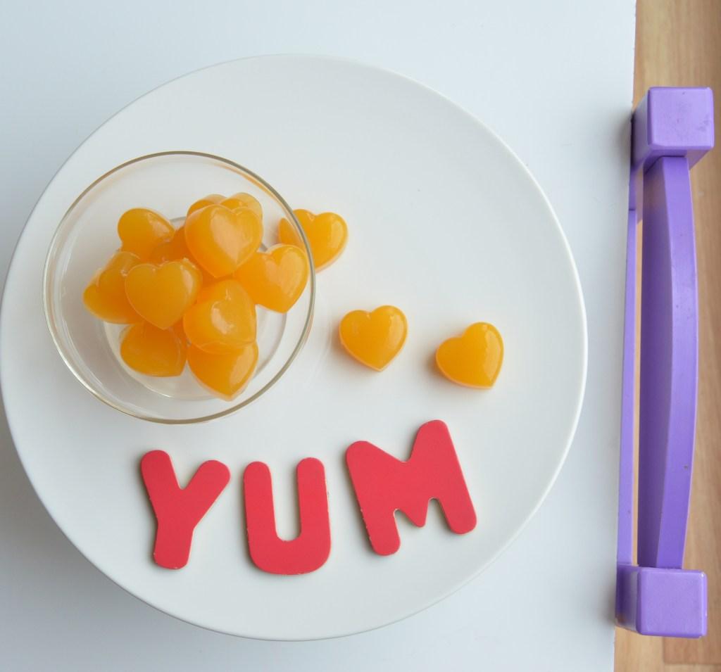 gelatin, gummies, orange, mango, heart