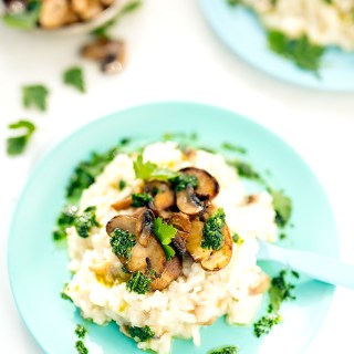 mushroom risotto with thyme oil