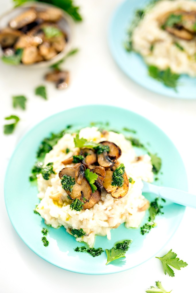 mushroom risotto with thyme oil at www.kidseatbyshanai.com