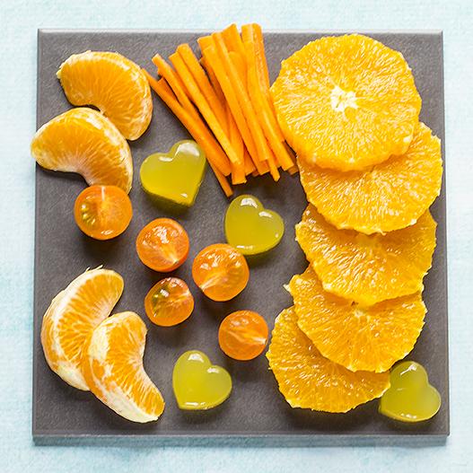 healthy kids party food in orange