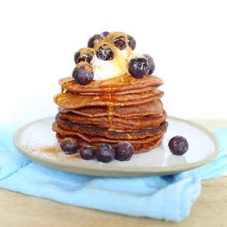 choc berry pancakes with ricotta, honey & blueberries