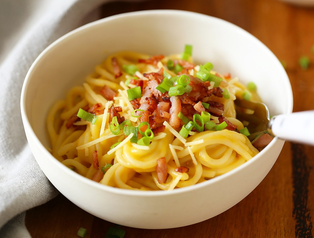 leftover pumpkin soup carbonara with chives Kids Eat by Shanai