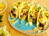 leftover roast beef tacos with grilled corn, cheese and pickled beetroot