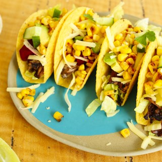 leftover roast beef tacos + grilled corn + pickled beetroot